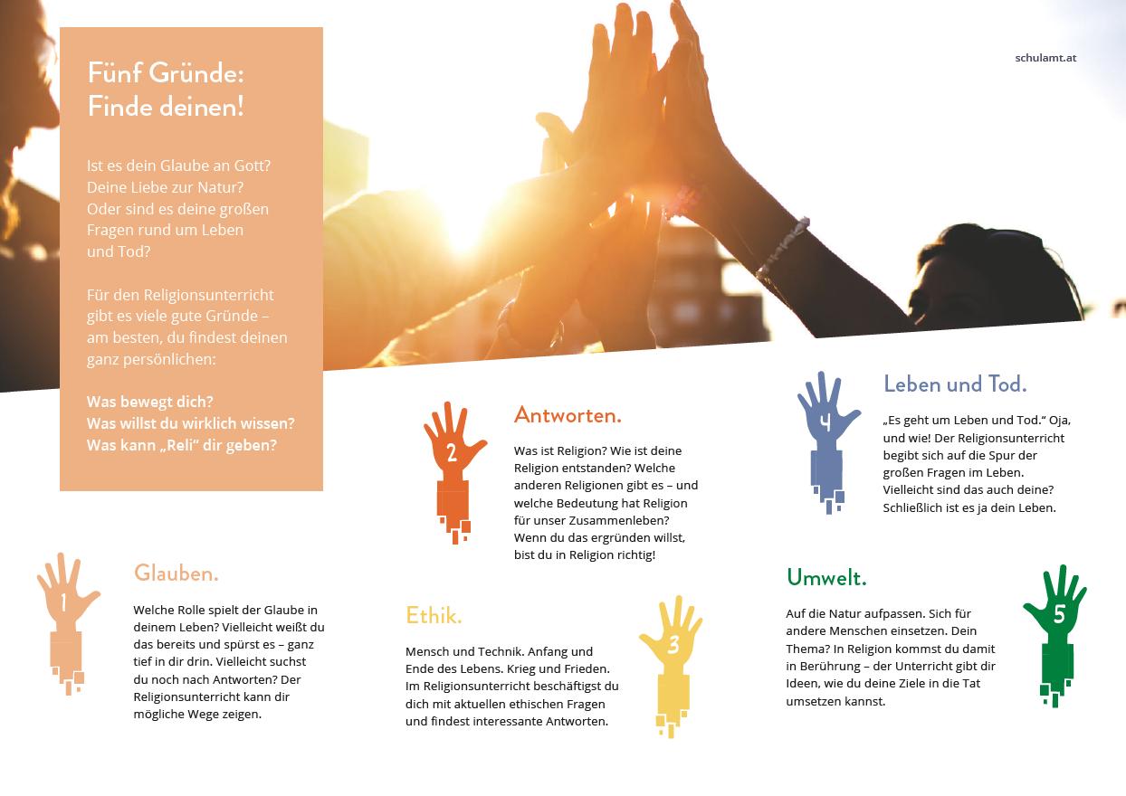 Folder | 5 gute Gründe für den katholischen Religionsunterricht